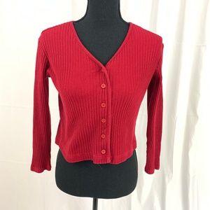 NY&C Button Down Read V-Neck Sweater M